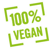 100% vegan. 100 percent vegan stamp in green Stock Images