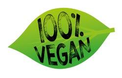 100% Vegan. 100 percent vegan tag in a green leaf Vector Illustration