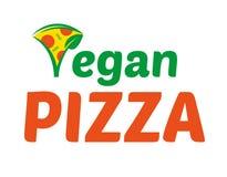 Vegan Pizza logo. Logo flat icon element triangular fragrant hot appetizing piece of abstract vegan pizza. Fresh light eco vegetarian 100 natural raw vegan eat Stock Photography