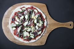 Vegan Pizza Ready to Cook Stock Photography