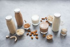 Vegan plant based milk stock images