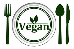 Vegan Plate With Spoon Fork Knife Stock Photo