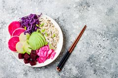 Free Vegan Poke Bowl With Avocado, Beet, Pickled Cabbage, Radishes. Top View, Overhead, Flat Lay. Royalty Free Stock Image - 116735346