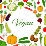 Vegan poster of vegetables and vector veggies Stock Photos