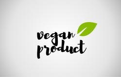 vegan product green leaf handwritten text white background stock illustration