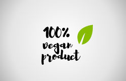 100% vegan product green leaf handwritten text white background. 100% vegan product text green leaf black white logo vector creative company icon design template royalty free illustration