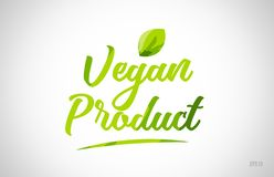 vegan product green leaf word on white background vector illustration