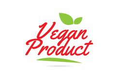 Vegan Product hand written word text for typography design in red vector illustration