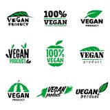 100 vegan product logo. Nine signs for marking vegan product Royalty Free Stock Photos