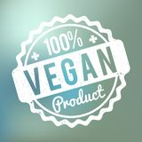 Vegan Product rubber stamp white on a blue bokeh background. Vegan Product rubber stamp white on a blue bokeh background Vector Illustration