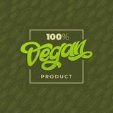 100 VEGAN PRODUCT typography. Vegan shop advertising. Green seamless pattern with leaf. Handwritten lettering for restaurant, cafe. Menu Royalty Free Stock Image