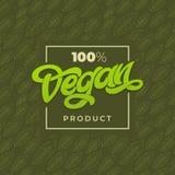 100 VEGAN PRODUCT typography. Vegan shop advertising. Green seamless pattern with leaf. Handwritten lettering for restaurant, cafe. Menu Stock Illustration