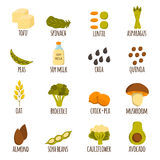 Vegan protein icons Stock Photos