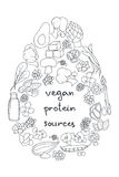 Vegan protein. Set of hand drawn vector illustration of best sources of protein for vegetarians. Great for vegetarian and healthy life concept. Infographics royalty free illustration
