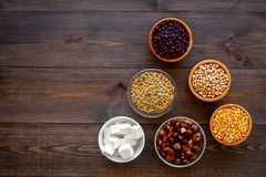 Vegan protein source. Legumes, nuts, cheese. Raw beans, chickpeas, lentil, almond, hazelnut on dark wooden background royalty free stock photography