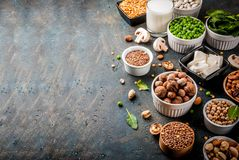 Vegan  protein sources. Healthy diet vegan food, veggie protein sources: Tofu, vegan milk, beans, lentils, nuts, soy milk, spinach and seeds. Top view on white Royalty Free Stock Photo