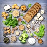 Vegan protein sources. Top view on a grey wooden background Stock Photo
