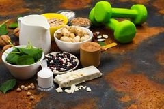 Vegan proteins food. Products for growing muscles. Space for text royalty free stock photos