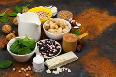 Vegan proteins food. Products for growing muscles. Space for text royalty free stock image