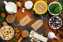 Vegan proteins food. Selection of vegan proteins products: nuts, beans, buckwheat, soy milk. Space for text stock photos