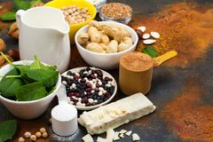 Vegan proteins food. Selection of vegan proteins products: nuts, beans, buckwheat, soy milk. Space for text royalty free stock images