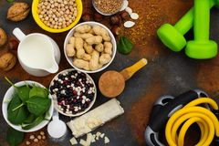 Vegan proteins food. Selection of vegan proteins products: nuts, beans, buckwheat, soy milk. Space for text stock image