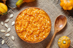 Vegan pumpkin rice porridge pudding homemade sweet dessert healthy organic food traditional autumn meal Stock Images
