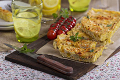 Vegan quiche with tofu royalty free stock photos