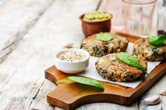 Vegan quinoa eggplant spinach chickpeas Burger. Toning. selective focus Stock Image