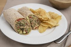 Quinoa Wrap. Vegan quinoa wrap served with chips Royalty Free Stock Photography