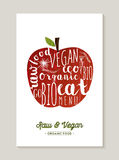 Vegan and raw food apple concept illustration Stock Image
