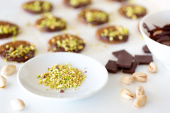 Vegan and raw pistachio cookies on white table Royalty Free Stock Image