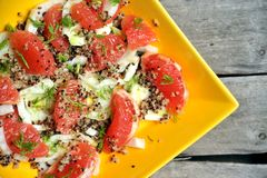 Vegan, raw salad with quinoa, grapefruit and fennel Stock Image