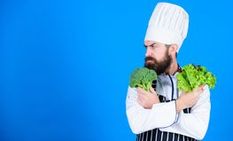Vegan recipe concept. Buy fresh vegetables grocery store. Vegan restaurant. Hipster chief chef vegan cafe. Health and. Dieting. I choose vegan lifestyle. Man stock photo