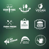 Vegan related vintage badges, labels and design elements. Royalty Free Stock Photo