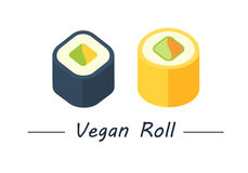 Vegan rolls set icons Royalty Free Stock Photo
