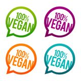 100% vegan round Buttons. Circle Eps10 Vector. 100% vegan round Buttons. Circle Eps10 Vector signs. Eat smart eat vegan royalty free illustration