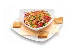 Vegan salad with bread slices Stock Photo
