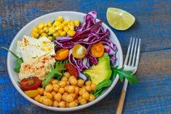 Vegan salad with hummus, tofu, chickpeas and vegetables Stock Image