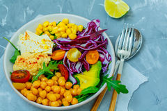 Vegan salad with hummus, tofu, chickpeas and vegetables Royalty Free Stock Photography