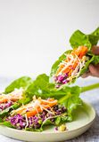 Vegan salad in leaf with vegetables royalty free stock photography