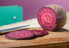 Vegan Salami, joking slices of red beet Royalty Free Stock Photography