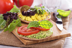 Vegan sandwich with avocado, vegetables and tofu Stock Photography