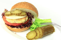 Vegan sea burger isolated on white Royalty Free Stock Image
