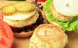 Vegan sea burger and patties closeup Stock Photos