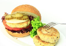 Vegan sea burger  on white Stock Images