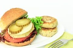 Vegan sea burger  on white Royalty Free Stock Photos