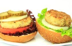 Vegan sea burger  on white Royalty Free Stock Photo