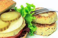 Vegan sea burger  on white Royalty Free Stock Photography