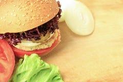 Vegan sea burger  on wood Stock Photos